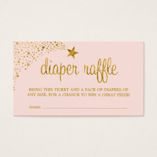 Twinkle Little Star Pink Gold Diaper Raffle Ticket