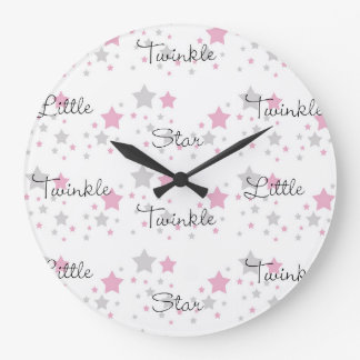 Twinkle Little Star Pink Grey Gray Nursery Rhyme Large Clock