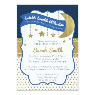 Twinkle Little Star Shower Invite, Faux Glitter Card
