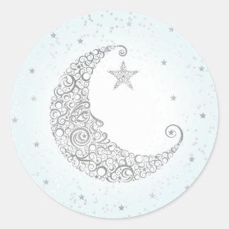Twinkle Little Star Silver Moon Sticker Blue