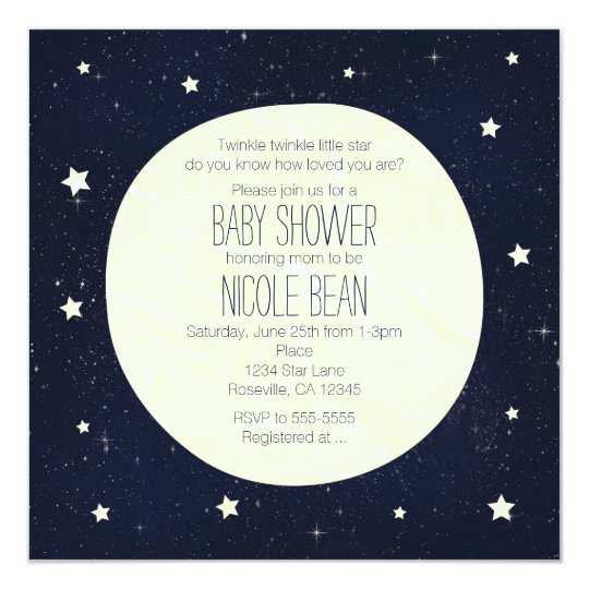 twinkle little star starry sky & moon baby shower card | zazzle, Baby shower invitations