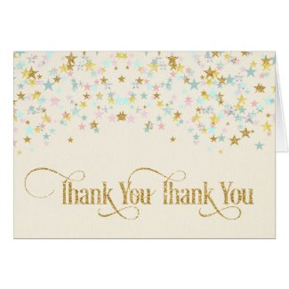 Twinkle Little Star Thank You Creme Card
