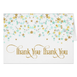 Twinkle Little Star Thank You Mint Green Gold Card