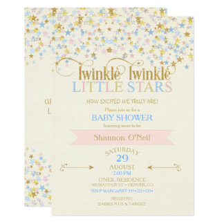 Twinkle Little Star Twins Baby Shower Pink & Blue Card
