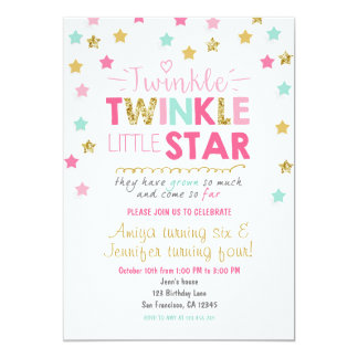 Twinkle Little Star Twins birthday invite Joint