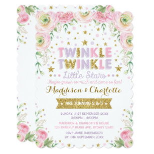 Twinkle Little Star Twins Sisters Birthday Invite