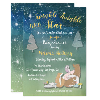Twinkle little star watercolor animals baby shower card