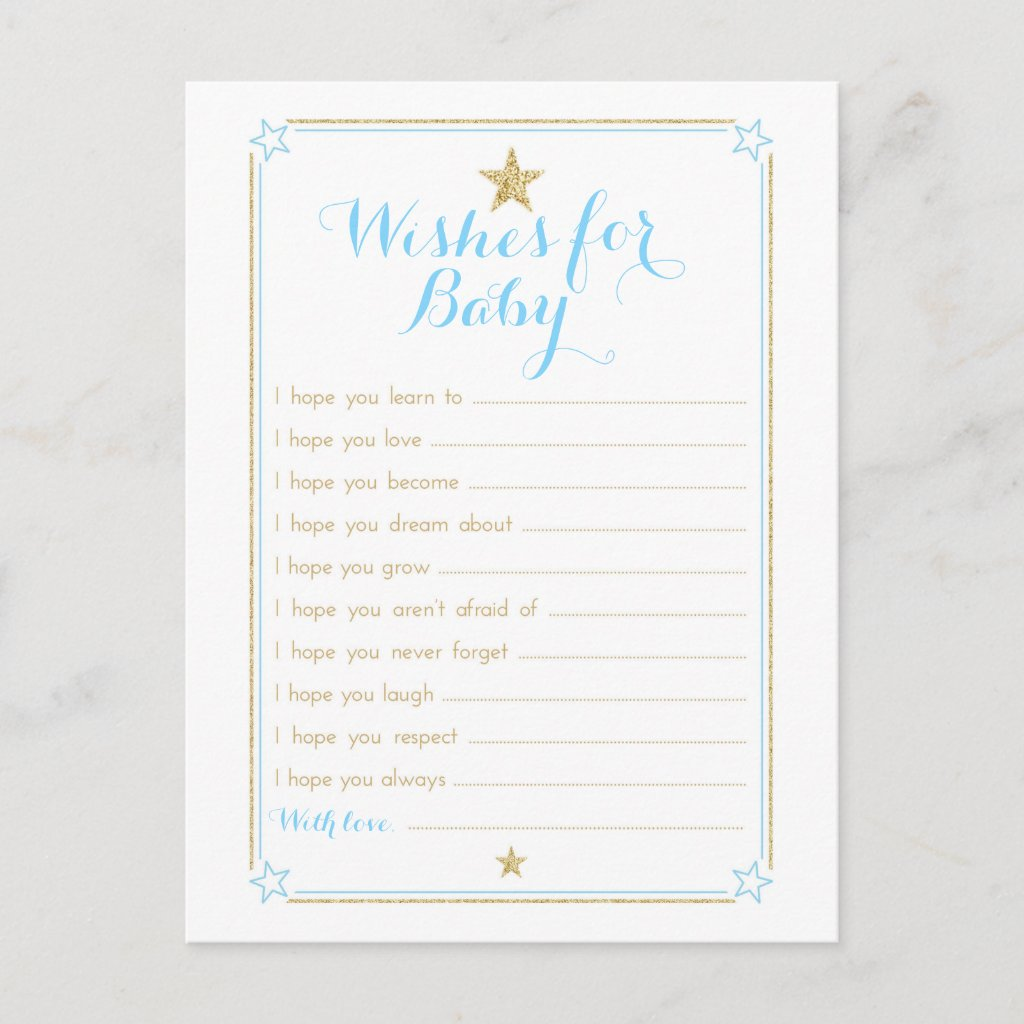 Twinkle Little Star Wishes for Baby - Blue Gold Advice Card