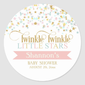 Twinkle Little Stars Twins Baby Shower Any Color Classic Round Sticker