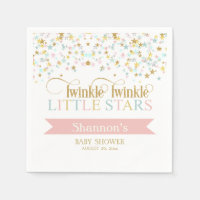 Twinkle Little Stars Twins Baby Shower Any Color Paper Napkin