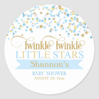 Twinkle Little Stars Twins Baby Shower Blue & Gold Classic Round Sticker