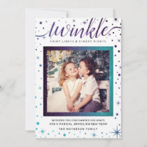 TWINKLE Purple & Teal Falling Snow Enchanted Holiday Card