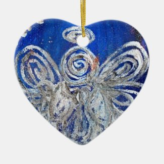 Twinkle Silver Angel Art Gift Holiday Ornament