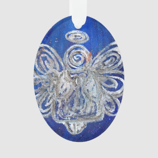 Twinkle Silver Angel Art Holiday Ornament