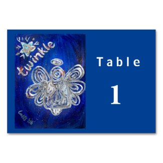 Twinkle Silver Angel Custom Table Cards