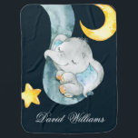 "Twinkle Sleeping Elephant Baby Boy Monogram Custom Baby Blanket<br><div class=""desc"">Twinkle Sleeping Elephant Baby Boy Monogram Custom</div>"