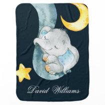 Twinkle Sleeping Elephant Baby Boy Monogram Custom Baby Blanket
