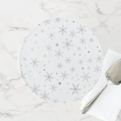 Twinkle Snowflake -Silver Grey &amp&#x3B; White- Cake Stand