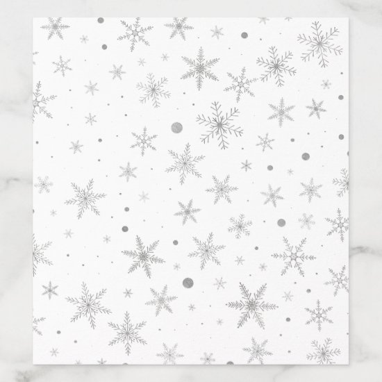 Twinkle Snowflake -Silver Grey & White- Envelope Liner