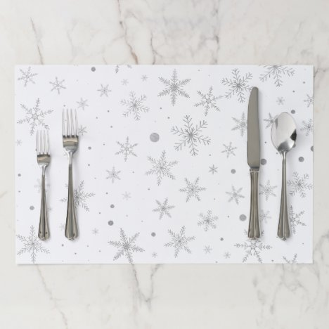 Twinkle Snowflake -Silver Grey & White- Paper Placemat