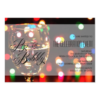 Twinkle Sparkle Bokeh Lights Champagne Party Card