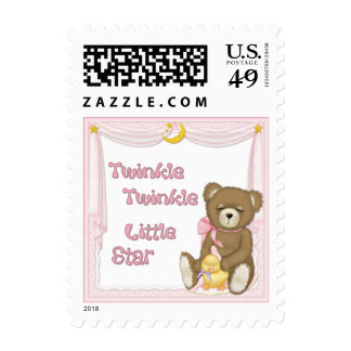 Twinkle Star Bear - Pink Postage Stamps