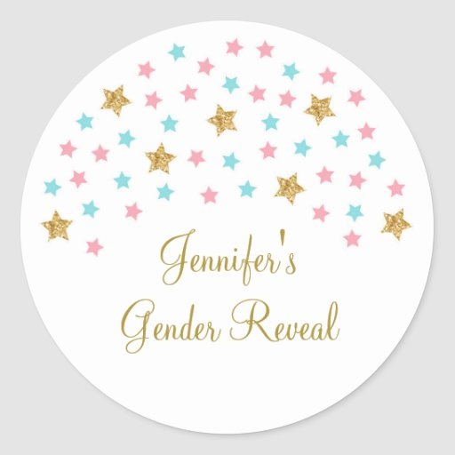Twinkle Star Gender Reveal Classic Round Sticker