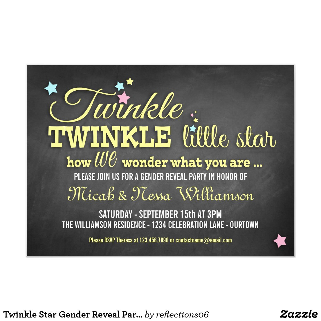 Twinkle Star Gender Reveal Party Invitation