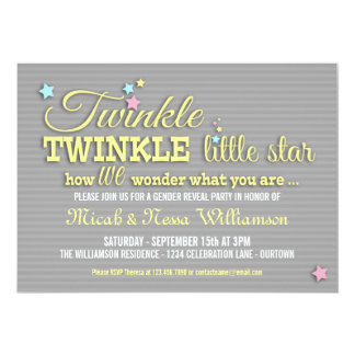 """Twinkle Star Gender Reveal Party Invitation 5"""" X 7"""" Invitation Card"""