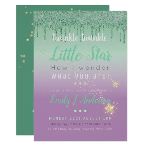 TWINKLE STAR Green Purple Drip Glitter Baby Gender Invitation