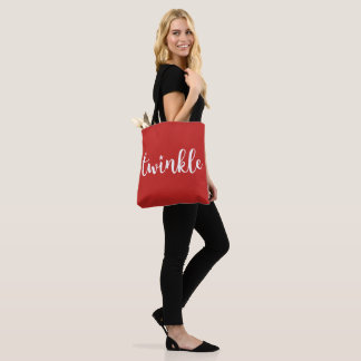 Twinkle & Star Holiday Red Christmas Tote Bag