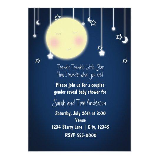 Twinkle Star Moon Celestial Baby Shower Invitation Zazzlecom
