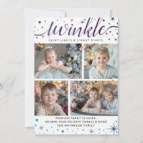 TWINKLE Starry Snow Fall Pattern | Teal & Purple Holiday Card