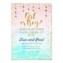 Twinkle stars gender reveal invitation