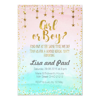 Twinkle stars gender reveal invitation
