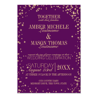Twinkle Stars Gold Sparkle Wedding Card