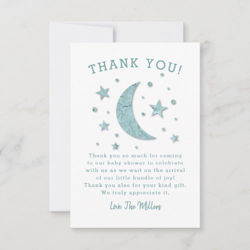 Twinkle Stars Moon Baby Shower Thank You Card