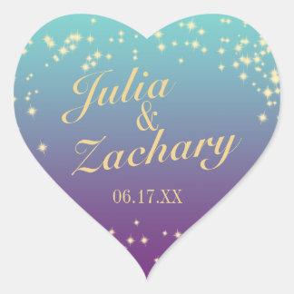 Twinkle Stars Ombre' Teal Purple Wedding Heart Sticker