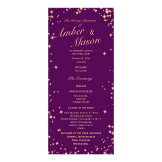 Twinkle Stars Purple and Gold Sparkle Rack Card