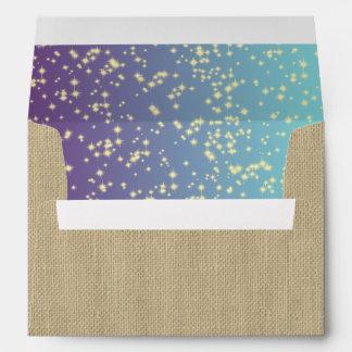Twinkle Stars Teal Purple Ombre' Envelope