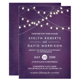 Twinkle String Lights Dark Purple Outdoor Wedding Invitation