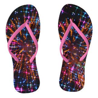 Twinkle Toes Fireworks Adult Flip Flops