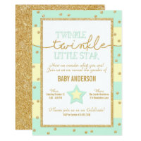 Twinkle Twinkle Aqua Yellow Gold Gender Reveal Card