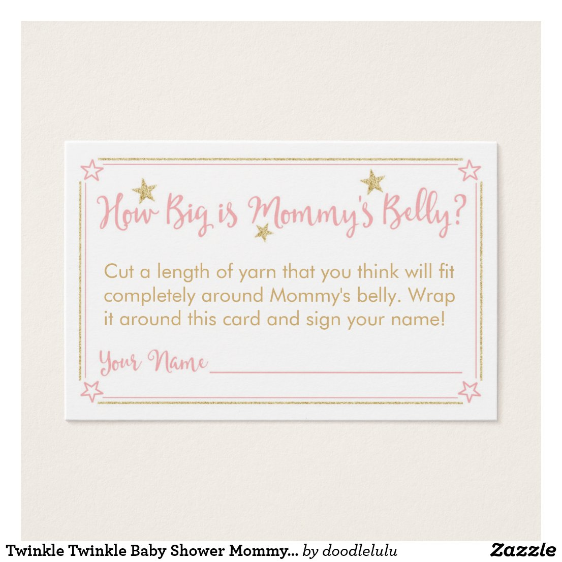Twinkle Twinkle Baby Shower Mommy's Belly Card