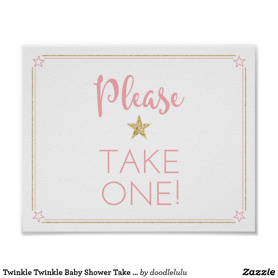 Twinkle Twinkle Baby Shower Take One Sign