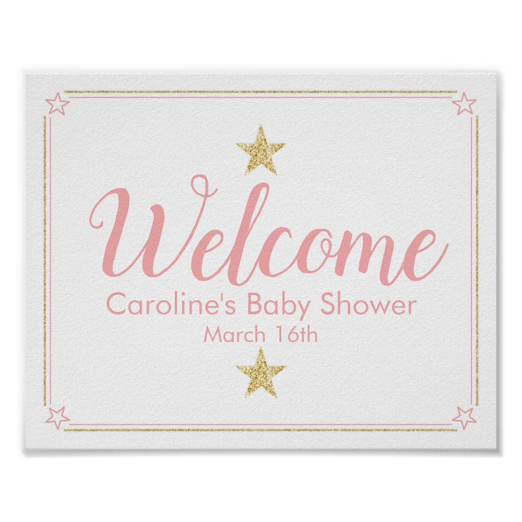 Twinkle Twinkle Baby Shower Welcome Sign pink gold