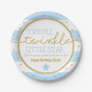 Twinkle Twinkle Blue and Gold Birthday Plates