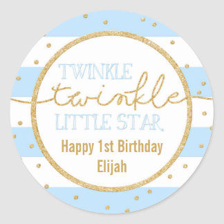 Twinkle Twinkle Blue and Gold Birthday Sticker