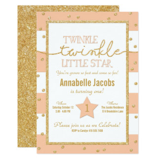 Twinkle Twinkle Coral and Gold Birthday Invitation