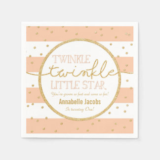 Twinkle Twinkle Coral and Gold Birthday Napkin